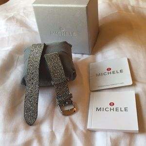 Michele Watch Sparkling Leather Straps